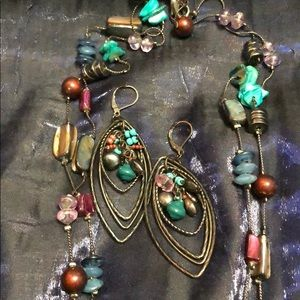 Stone and Shell Necklace and Earrings Set